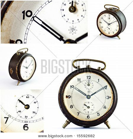 Collage Of Old Vintage Brown Alarm Clock Isolated On White