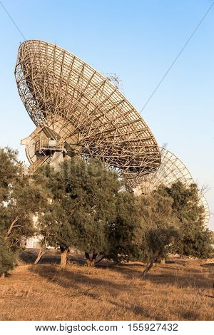 image of large parabolic satellite dish space technology receivers