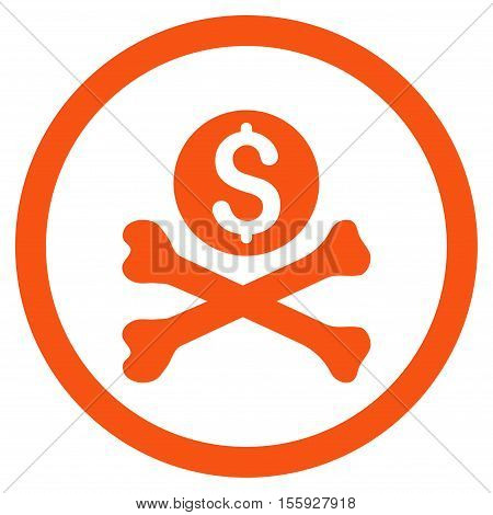 Mortal Debt rounded icon. Vector illustration style is flat iconic symbol, orange color, white background.