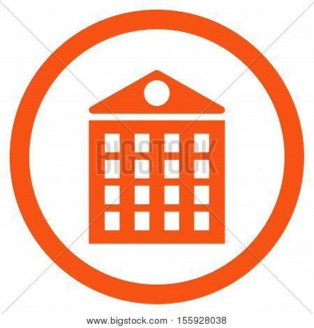 Multi-Storey House rounded icon. Vector illustration style is flat iconic symbol, orange color, white background.