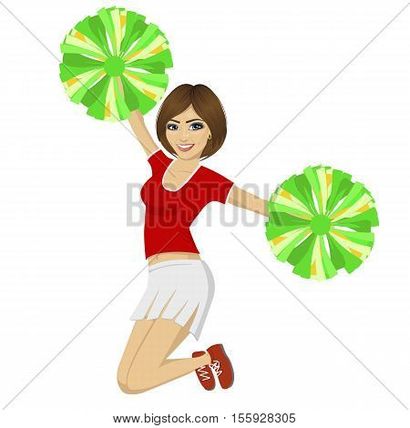 young beautiful cheerleader girl jumping with pom poms wearing red uniform over white background