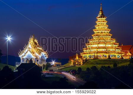 Chinese temple at night, Wat Hyua Pla Kang , Chiang Rai, Thailand