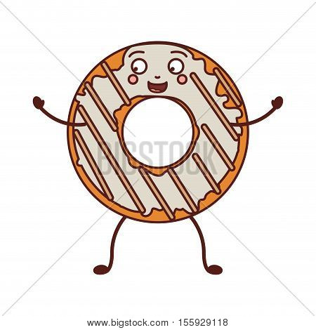 avatar donut with white glazed and stripeds vector illustration