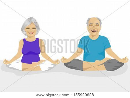 Senior couple doing yoga over white background. Body and mind in harmony with nature.