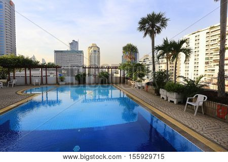 Bangkok, Thailand - December 15, 2015: Beautiful, Comfortable, Modern Hotel With A Swimming Pool In