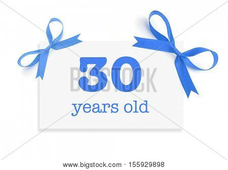 30 years old written on a card