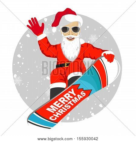 Santa Claus with sunglasses snowboarding jumping isolated over white background