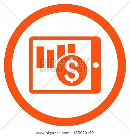 Sales Chart on Pda rounded icon. Vector illustration style is flat iconic symbol, orange color, white background.