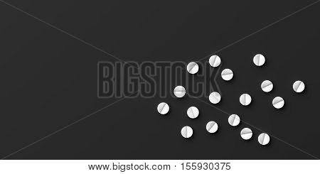 3D Rendering Pills On Black Background