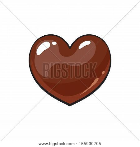 Heart shaped dark chocolate candy, sketch style vector illustration isolated on white background. Candy, bonbon, praline covered with milk or dark chocolate, appetizing shiny hand drawn dessert