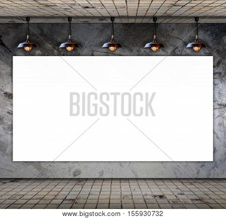 Blank frame on Grungy concrete wall with floor tile for information message