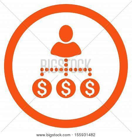 User Payments rounded icon. Vector illustration style is flat iconic symbol, orange color, white background.