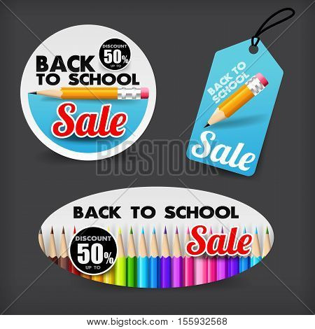 Collection of back to school sale with color pencil element tag banner promotion sale discount style vector illustration eps 10
