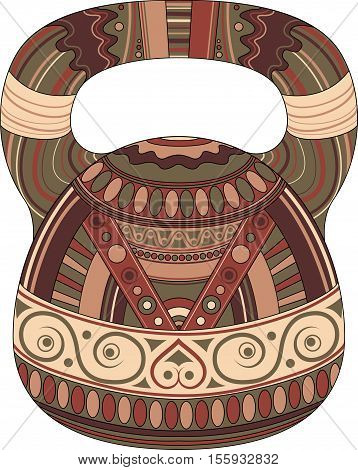 One color kettlebell on white background with ethnic pattern. Vector illustration. Kettlebell stylized like aztec ornament art.