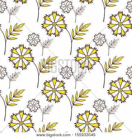 Seamless pattern made from hand drawn flowers. Vector illustration.