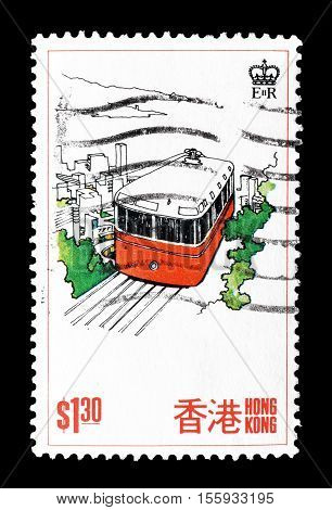 HONG KONG - CIRCA 1977 : Cancelled postage stamp printed by Hong Kong, that shows Funicular railway.