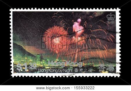 HONG KONG - CIRCA 1983 : Cancelled postage stamp printed by Hong Kong, that shows Chinese New Year Fireworks.