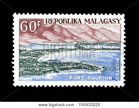 MADAGASCAR - CIRCA 1962 : Cancelled postage stamp printed by Madagascar, that shows Fort Dauphin.
