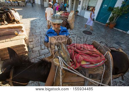 HYDRA, GREECE - OCT 4, 2016: Local man loads shingles on a donkey. Donkeys are the only means of transport on the Hydra island, no cars are allowed.