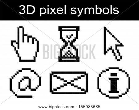 Vector pixel symbolson white background  - illustration