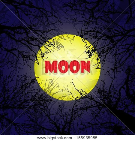 Dark blue background with big yellow moon and trees