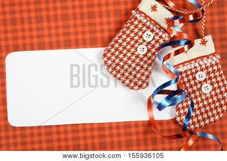 Card on a gold background are boots Santa Claus