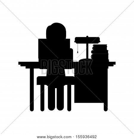 silhouette woman sit in desk with computer and lamp