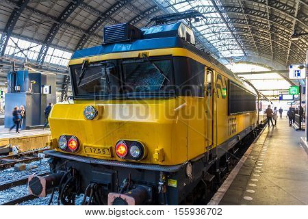 Amsterdam the Netherlands - November 8 2016: old electric dutch train at Amsterdam central station