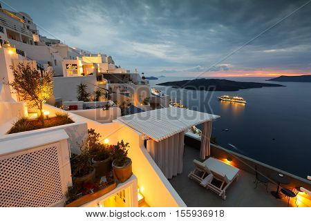 FIRA, GREECE - NOVEMBER 04, 2016: Town of Fira on Santorini island, Greece on November 04, 2016.