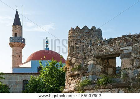 Greece Dodecanese Kos the city medieval walls and the Defderdar Mosque