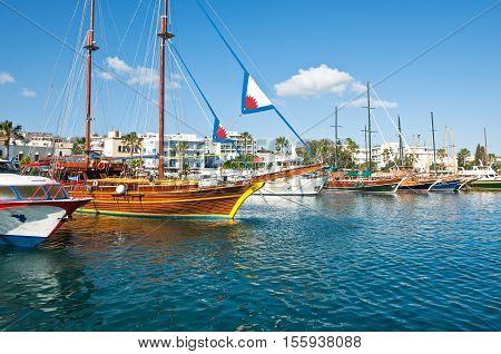 Kos Greece - May 17 2010: Pleasure boats in the harbor