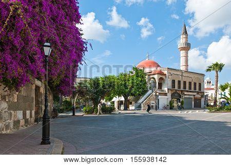 Kos Greece - May 18 2010: The Defderdar Mosque in Eleftheria square