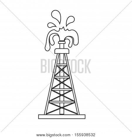 silhouette with oil crude tower vector illustration