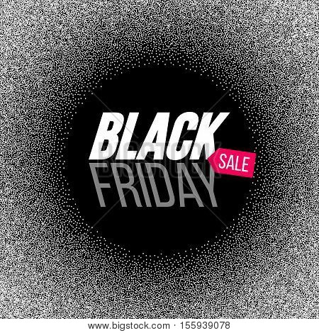 Black Friday sale banner with dots frame. Vector stock illustration.
