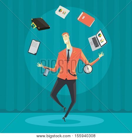 Businessman juggling with office equipment. Creative vector cartoon illustration on make money and wealth management concept.
