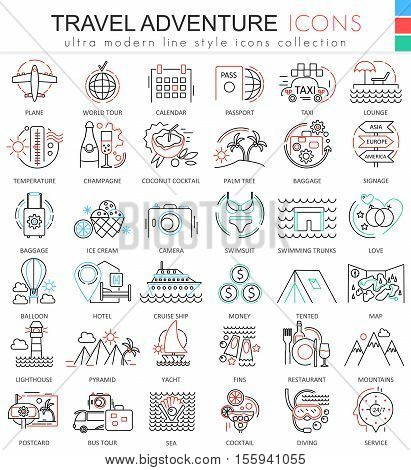 Vector Travel adventures ultra modern outline line icons for apps and web design. Travel sybols for app and web