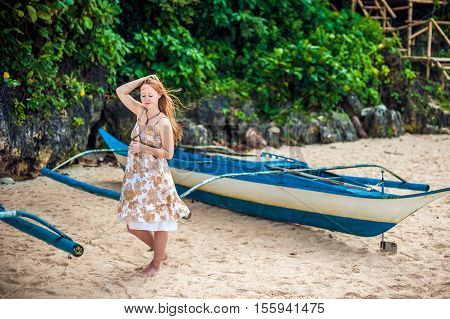 Girl And A Philippine Boat
