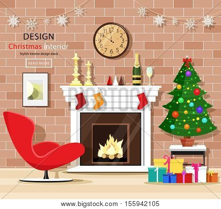 Christmas room interior set with christmas tree, fireplace, armchair, gift boxes and old clock. Vector illustration.