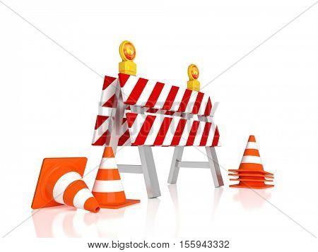 traffic barrier 3d rendering image