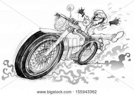Man very happy and riding vintage motorcycle cartoon character design Pencil free hand sketch black and white color isolate white background.