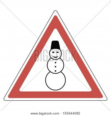 sign snowman attention road sign - caution snowman on the road, vecto