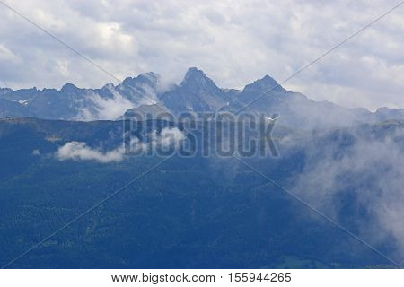 Low clouds in the French Alp mountains