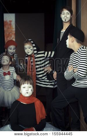 Minsk Belarus - November 11 2016: Children as mimes Film Festival Listapadzik