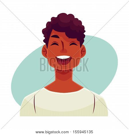 Young african man face, laughing facial expression, cartoon vector illustrations isolated on blue background. Handsome boy emoji laughing out load with closed eyes and open mouth. Laughing face