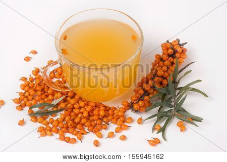 Sea buckthorn tea with a sprig isolated on white background.
