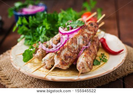 Minced Lula Kebab Grilled Turkey (chicken) With Vegetables.