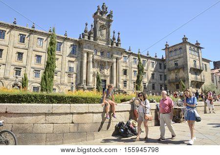 SANTIAGO DE COMPOSTELA, SPAIN - AUGUST 5, 2016: People in front of Monastery of San Martin PinarioSantiago de Compostela Galicia Spain.
