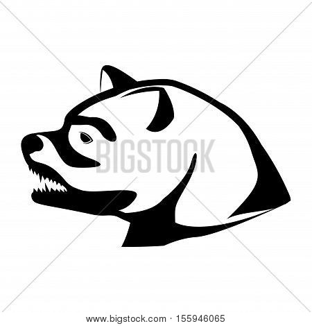monochrome silhouette with decorative bear head growling vector illustration