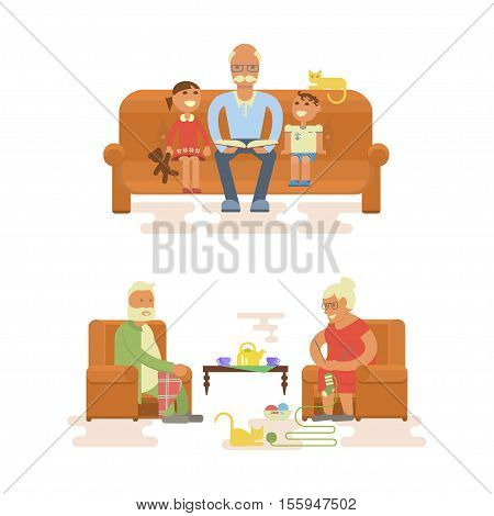 Grandparents sitting in chair. Grandpa reading a book to grandsons. Cartoon characters in flat design. Vector illustration eps10
