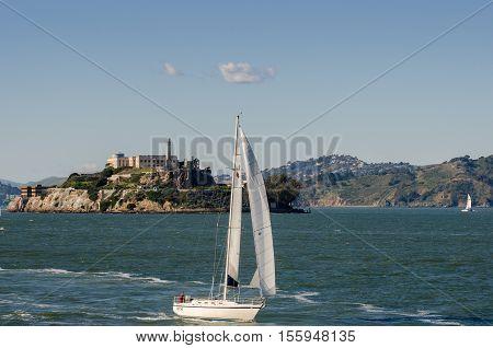 Sail Boat At San Francisco Bay On Alcatraz Island Background